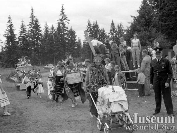 July 1st parade, Campbell River, Members of the Gilford Island and Nakwotak Bands in parade at Lane Field