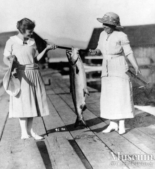 Agnes Twidle with catch of salmon