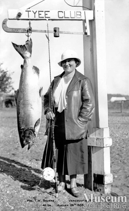 Mrs. Bourns with catch
