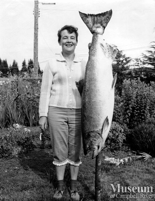 Mrs. Murphy with her catch
