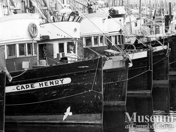 Fishing boats tied up at the Campbell River wharf