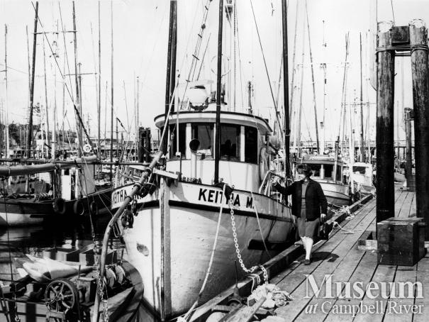 Commercial fishing boats tied up at the Campbell River wharf