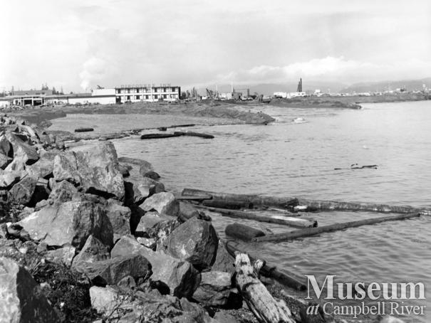 Campbell River beachfront in front of downtown Campbell River