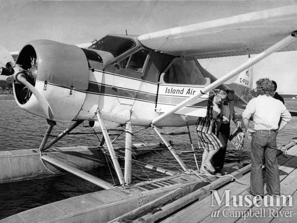 Island Air float plane at dock at Tyee Spit, 1976.