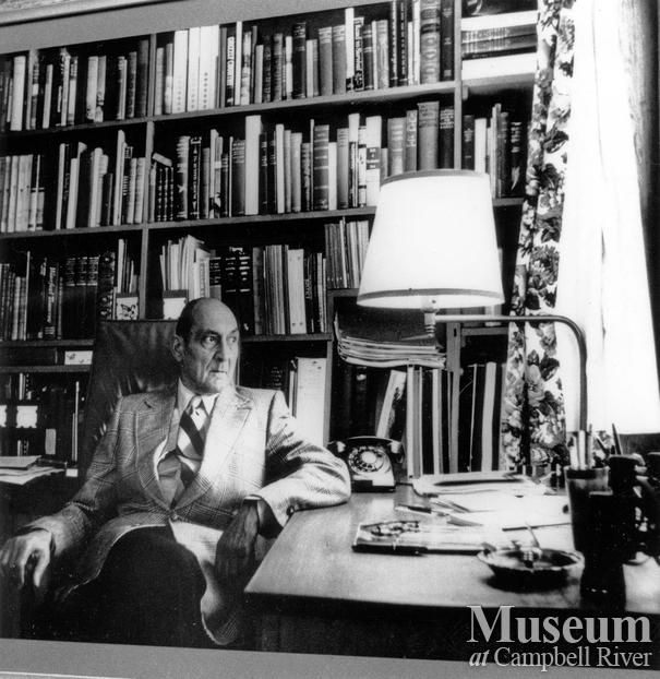 Roderick Haig-Brown in his study at the Haig-Brown House
