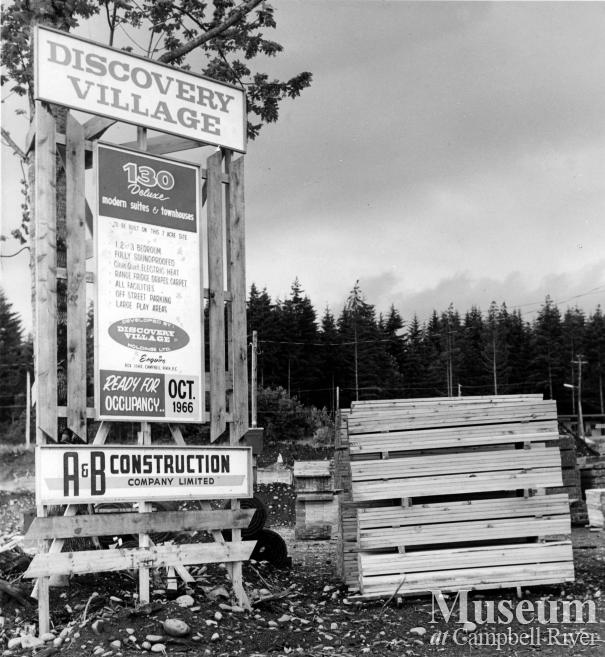 Development sign for the Discovery Village, Campbell River.