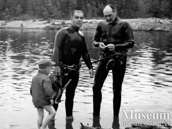 Stan Douglas and Roderick Haig-Brown scuba diving