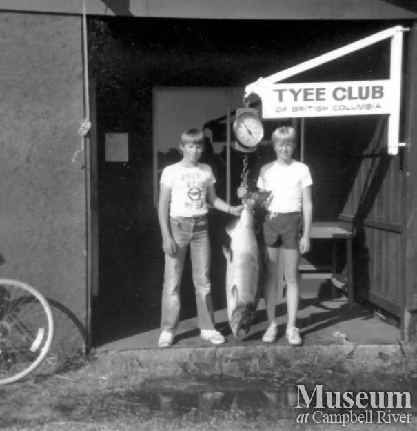 Kids with catch at Tyee Club scales