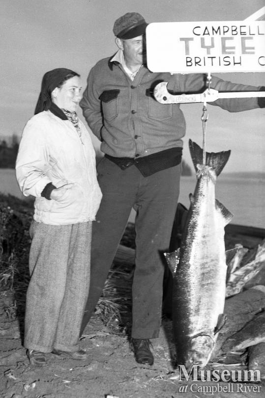 Anglers with Tyee Salmon at Tyee Club Scales