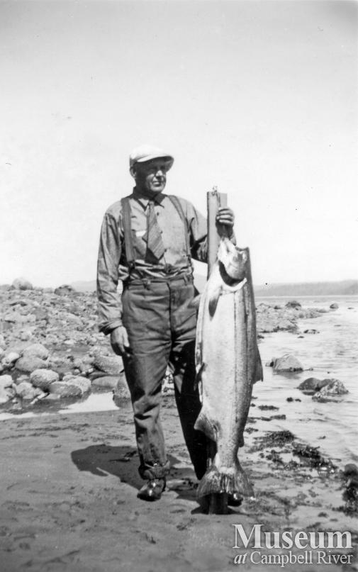 George Finkley with salmon