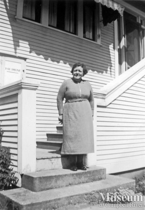 Mrs. Boffy in front of Campbell River Telephone Office