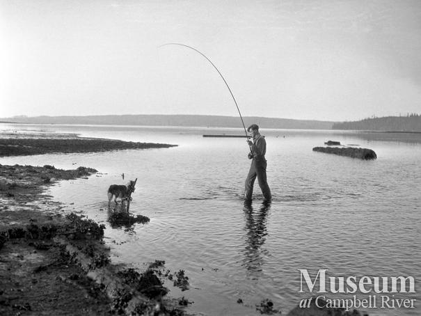 Roderick Haig-Brown fishing at the mouth of the Campbell River