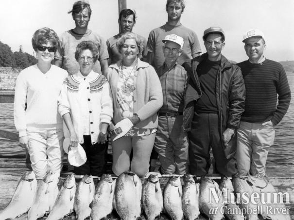 Guests of Painter's Lodge pose with their catch