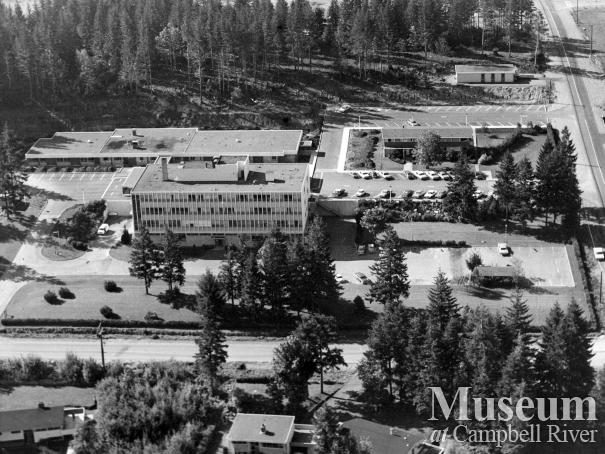 An aerial view of Campbell River Hospital