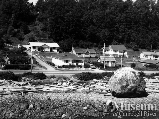 Campbell River waterfront showing the Big Rock, September 1971.