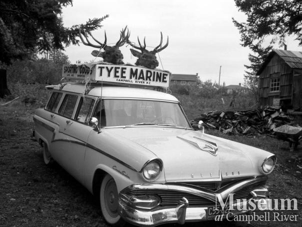 Elk trophies on Tyee Marine vehicle