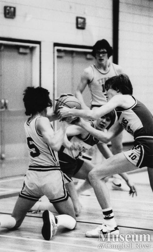 Carihi Students play in Basketball League Game, 1981