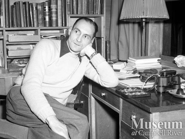 Roderick Haig-Brown at his desk, Campbell River