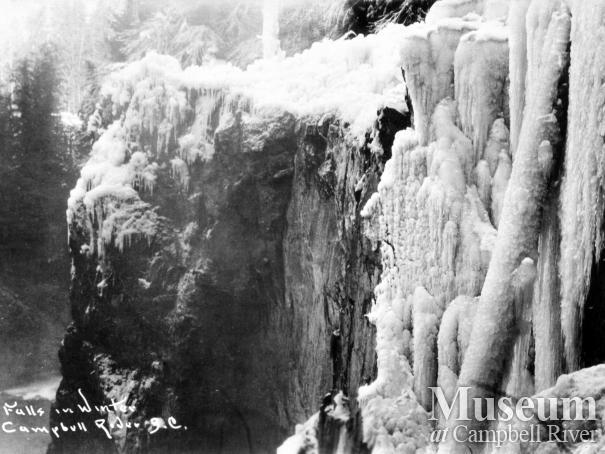 Postcard of Elk Falls in Winter