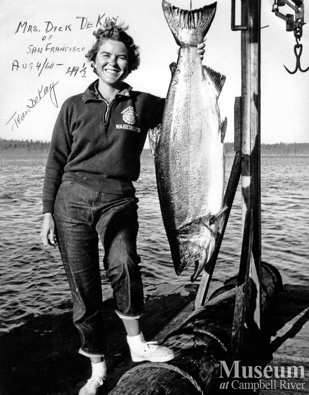 Mrs. Jean De Kay of San Francisco with catch