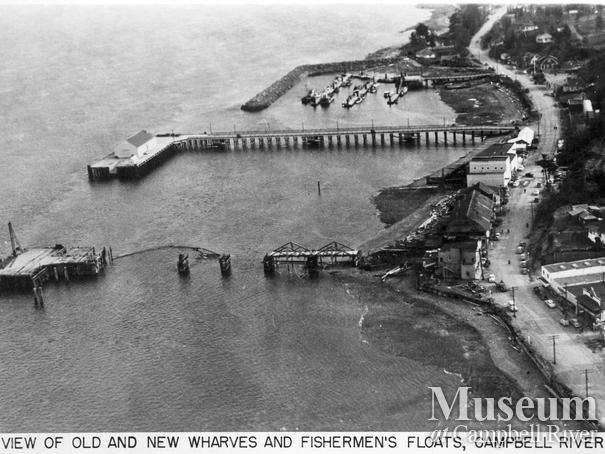 Aerial view of old and new wharves and fishermen's floats