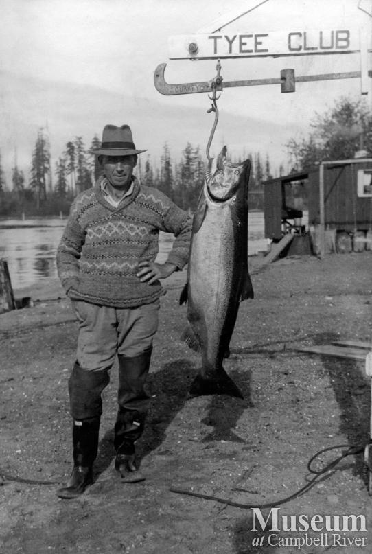 Herbert Pidcock with salmon at Tyee Club scale