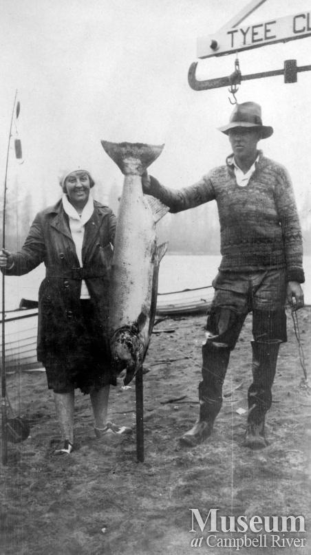 Unidentified couple with salmon at the Tyee Club