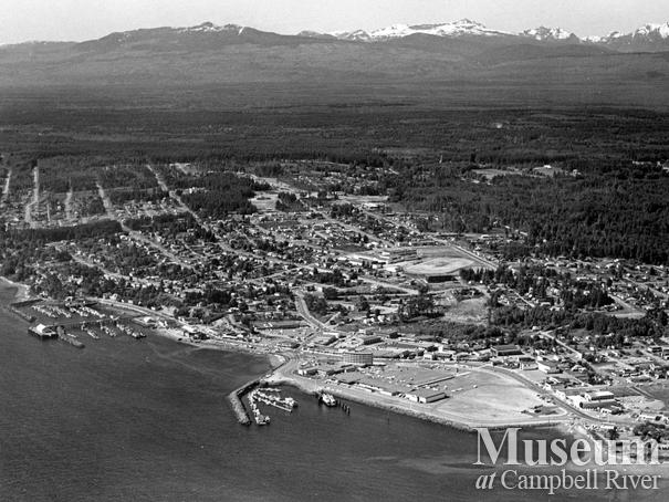 Aerial view of downtown Campbell River