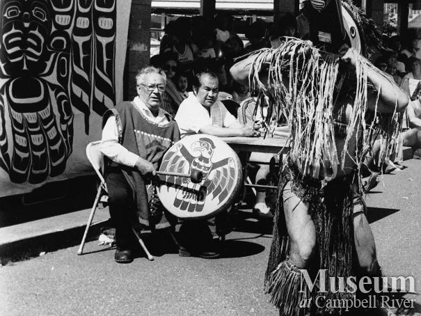 Sam Henderson playing the drum at Tyee Plaza