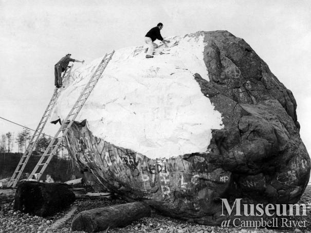 The Big Rock undergoing a cleaning
