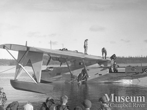 Amphibian aircraft in water off Tyee Spit