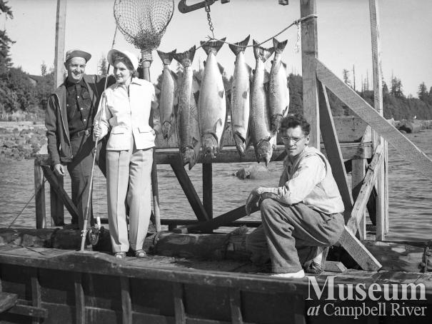 Guests with Catch of Salmon at Painter's Lodge