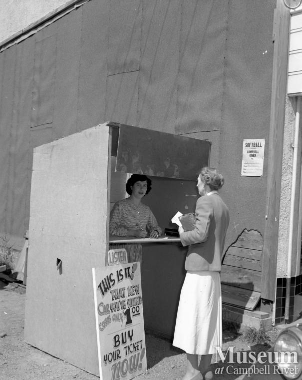 Ticket selling booth at the Community Hall