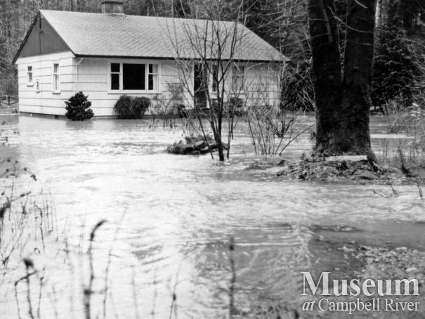 Mr. and Mrs. Ted Brown's house in a flood