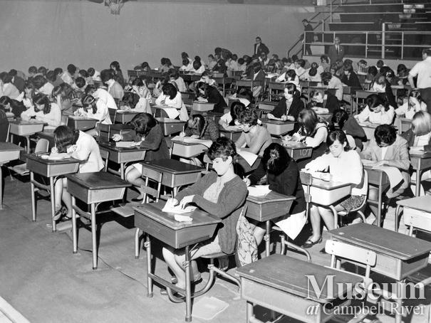 Students taking their Easter exams at Campbell River's Junior Secondary School