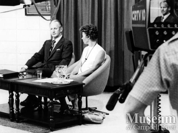 Interview being filmed at CRTV's studio, Campbell River
